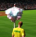 Free Stock Photo: A cotton candy vendor at a baseball game