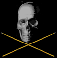Free Stock Photo: Illustration of a skull and crossed drumsticks