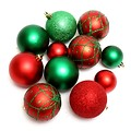 Free Stock Photo: Red and green Christmas ornaments isolated on a white background