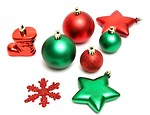 Free Stock Photo: Green and red Christmas ornaments isolated on a white background