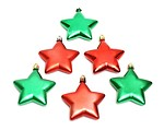 Free Stock Photo: Red and green star shaped Christmas ornaments isolated on a white background