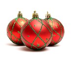 Free Stock Photo: A red Christmas ornaments isolated on a white background