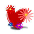 Free Stock Photo: Illustration of a red heart with flowers
