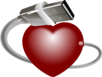 Free Stock Photo: Illustration of a red heart with a USB cable