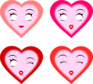Free Stock Photo: Illustration of pink hearts with faces