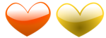 Free Stock Photo: Illustration of orange and yellow hearts