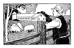 Free Stock Photo: Vintage illustration of a famer looking over pigs on his farm