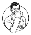 Free Stock Photo: Vintage illustration of a man blowing his nose