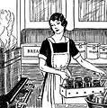 Free Stock Photo: Vintage illustration of a woman in a kitchen