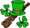 Free Stock Photo: Illustration of a Saint Patrick's Day hat and shillelagh