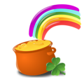 Free Stock Photo: Illustration of a pot of gold and a rainbow for Saint Patrick's Day