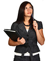 Free Stock Photo: A beautiful young business woman thinking