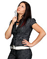 Free Stock Photo: A beautiful young business woman posing on a white background