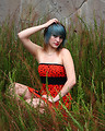 Free Stock Photo: A beautiful young woman posing in a red dress in tall grass