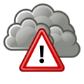 Free Stock Photo: Illustration of a stormy cloud with a warning symbol