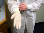 Free Stock Photo: A lab technician putting on disposable gloves