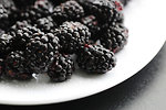 Free Stock Photo: Closeup of a plate of blackberries