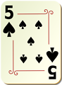 Free Stock Photo: Illustration of a Five of Spades playing card