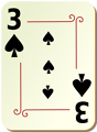 Free Stock Photo: Illustration of a Three of Spades playing card