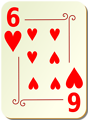 Free Stock Photo: Illustration of a Six of Hearts playing card