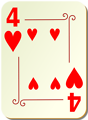 Free Stock Photo: Illustration of a Four of Hearts playing card
