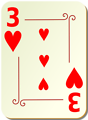 Free Stock Photo: Illustration of a Three of Hearts playing card