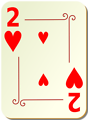 Free Stock Photo: Illustration of a Two of Hearts playing card