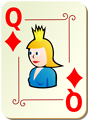 Free Stock Photo: Illustration of a Queen of Diamonds playing card