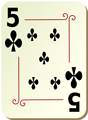 Free Stock Photo: Illustration of a Five of Clubs playing card