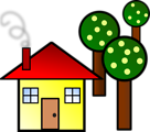 Free Stock Photo: Illustration of a house with trees