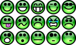 Free Stock Photo: Collection of green smiley faces