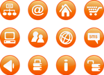 Free Stock Photo: Collection of round orange icon buttons