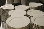 Free Stock Photo: Stacks of dinner white dinner plates
