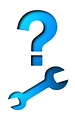 Free Stock Photo: Illustration of a question mark and a wrench