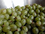 Free Stock Photo: Green gooseberries in a silver dish