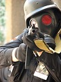 Free Stock Photo: A futuristic soldier with gas mask and pointed gun at Dragoncon 2008
