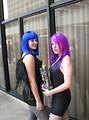 Free Stock Photo: Two girls with colored hair in costumes at Dragoncon 2008