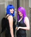 Free Stock Photo: Two beautiful girls with colored hair and costumes at Dragoncon 2008
