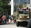 Free Stock Photo: Military truck with soldiers in the 2008 Dragoncon parade