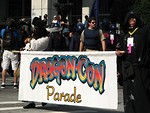 Free Stock Photo: Men in costumes holding flag in the 2008 Dragoncon parade