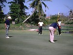 Free Stock Photo: A group of men playing golf on a putting green