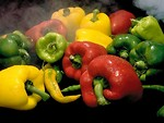 Free Stock Photo: Close-up of various peppers with steam