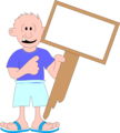 Free Stock Photo: Illustration of a man holding a blank sign