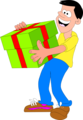 Free Stock Photo: Illustrated man with big green present