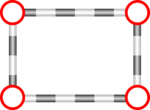 Free Stock Photo: Illustration of a blank frame with red circle corners