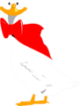 Free Stock Photo: Illustration of a cartoon goose with a red bow on