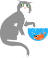 Free Stock Photo: Illustration of a cat sneaking a paw into a fish bowl