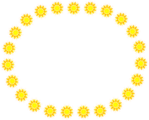 Free Stock Photo: Illustration of a blank oval frame of yellow sun shapes