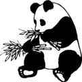 Free Stock Photo: Illustration of a giant panda eating bamboo