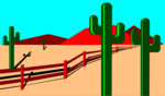 Free Stock Photo: Illustration of a desert landscape with cacti